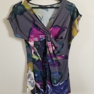 Ted Baker floral short sleeve top with ruching